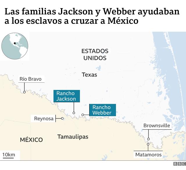 Mapa que muestra la ubicación del rancho Webber y del rancho Jackson.