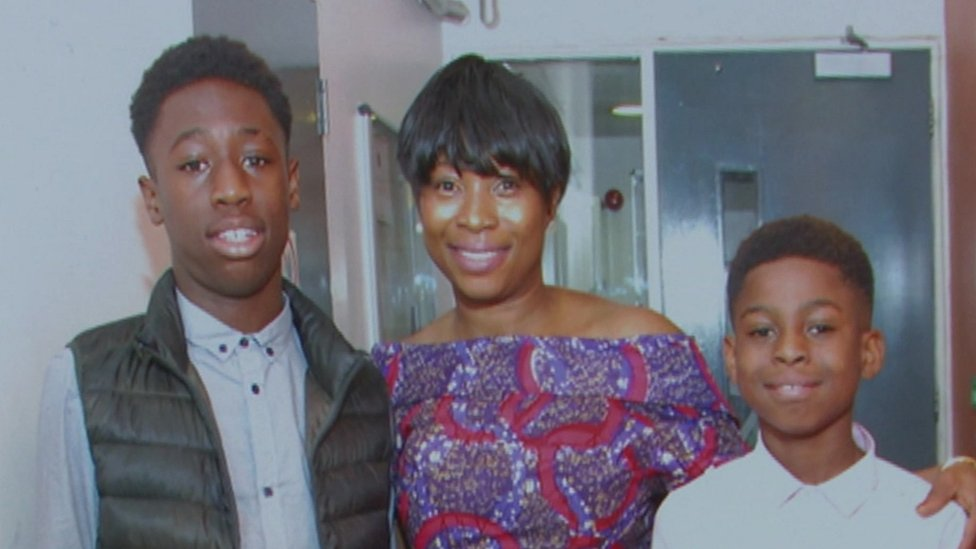Josephine Frimpong with her son Baptista (left) and David