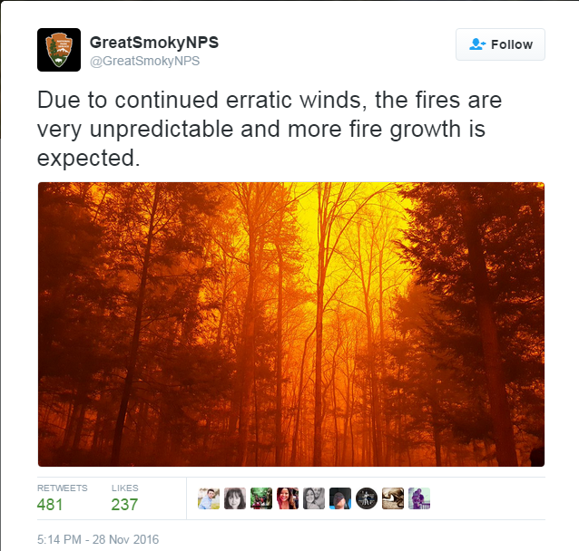 Tweet by Great Smokys national park