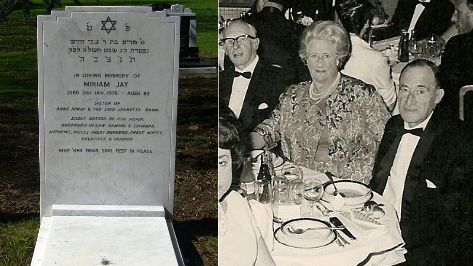 Miriam Jay's gravestone and her out for dinner in the 1960s in Essex