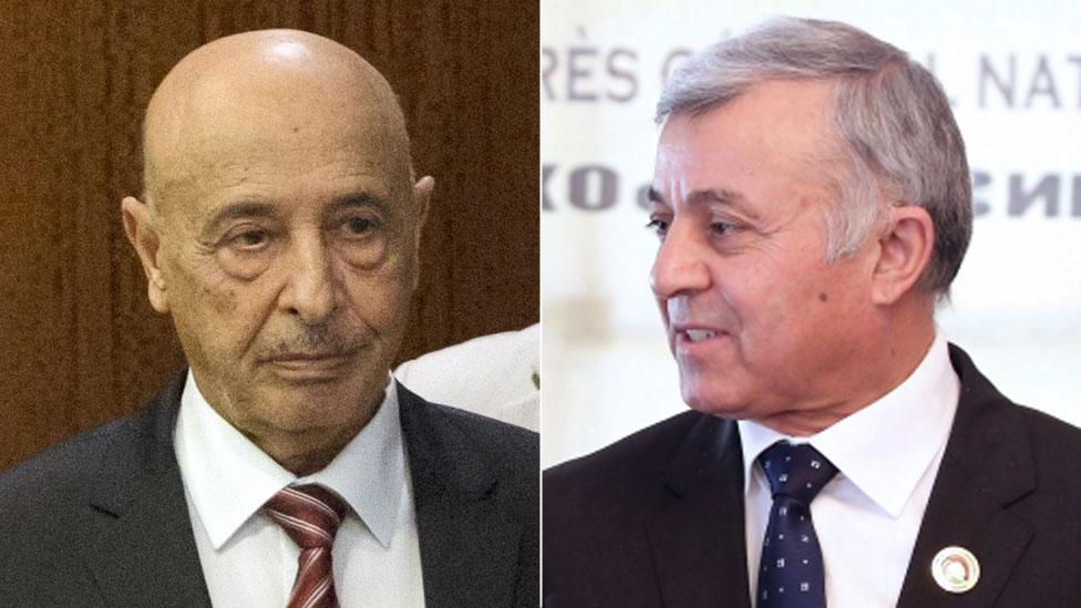 Agila Salah (l) and Nouri Abusahmen (r), rival Libyan leaders