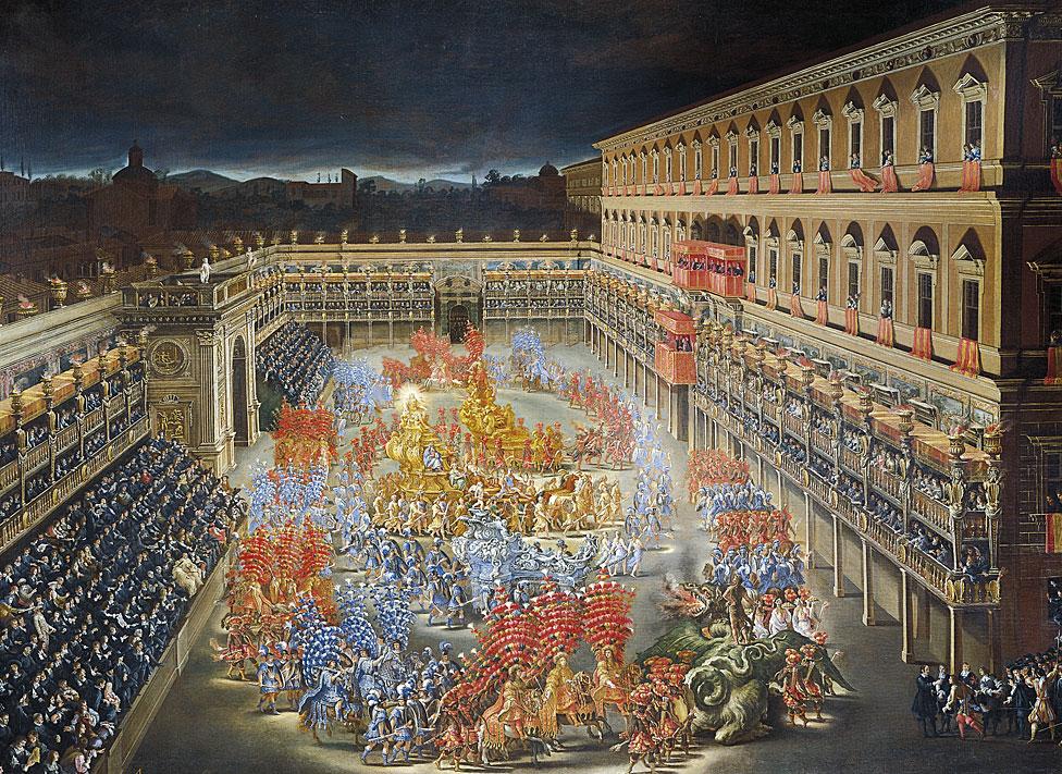 Las festividades en honor a la reina Cristina de Suecia en el patio del Palazzo Barberini, el 28 de febrero de 1656.