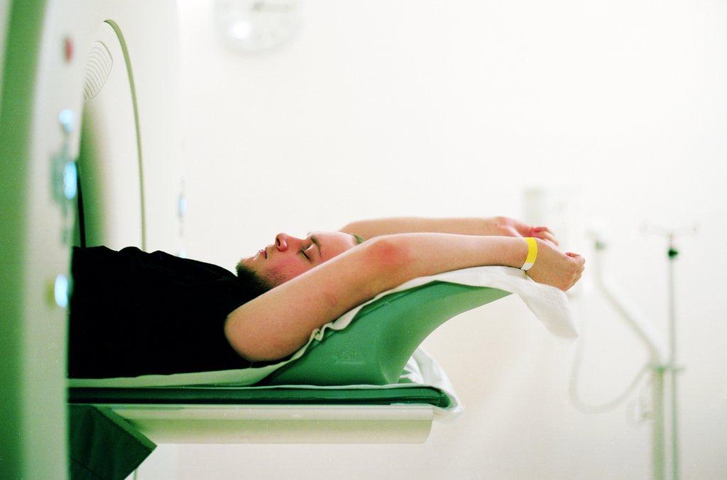 Joe undergoing a CT scan