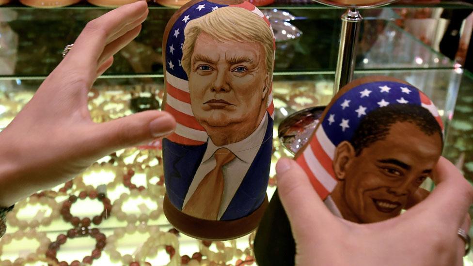 特朗普與奧巴馬的俄羅斯娃娃玩偶