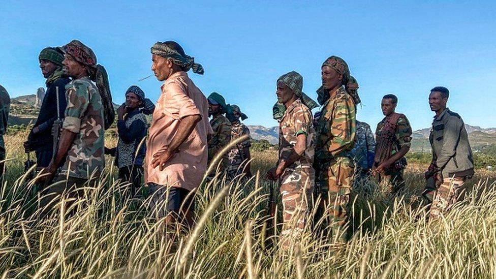 Amhara militia men in the northern region of Tigray
