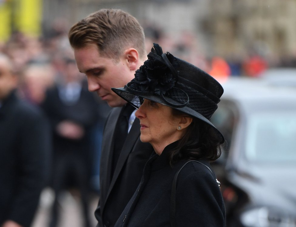 Jane Hawking, the first wife of Professor Stephen Hawking and their son Timothy, attend his funeral at University Church of St Mary the Great in Cambridge