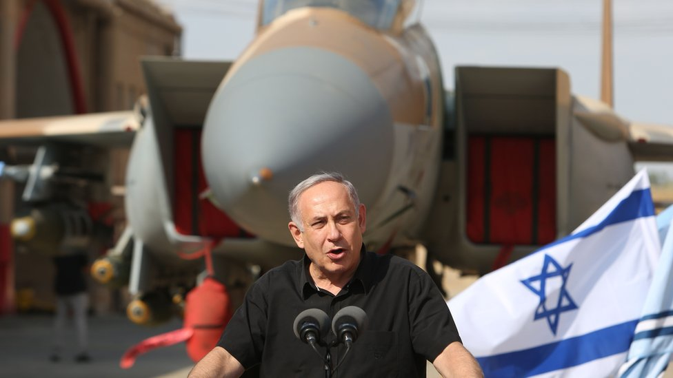 Israeli Prime Minister Benjamin Netanyahu visits Tel Nof Air Force base in central Israel on 17 August 2016