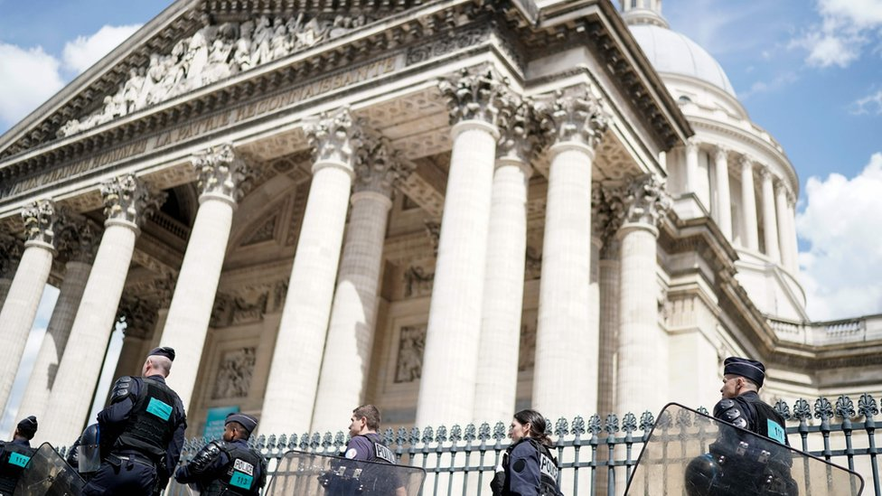 French police officers walk in Panthéon in Paris