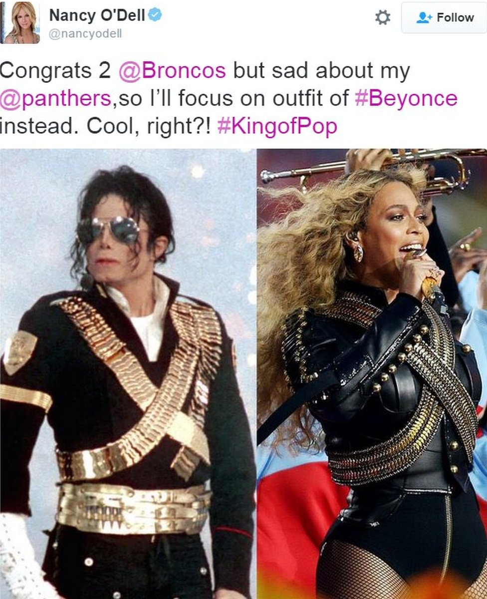 Tweet by Entertainment Tonight anchor Nancy O'Dell showing similarity between Beyonce and Michael Jackson's outfits - 7 February 2016