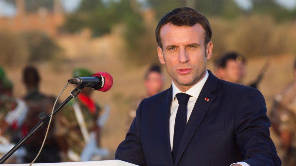 法國總統馬克龍在尼日爾首都尼亞美髮表講話(22/12/2019)