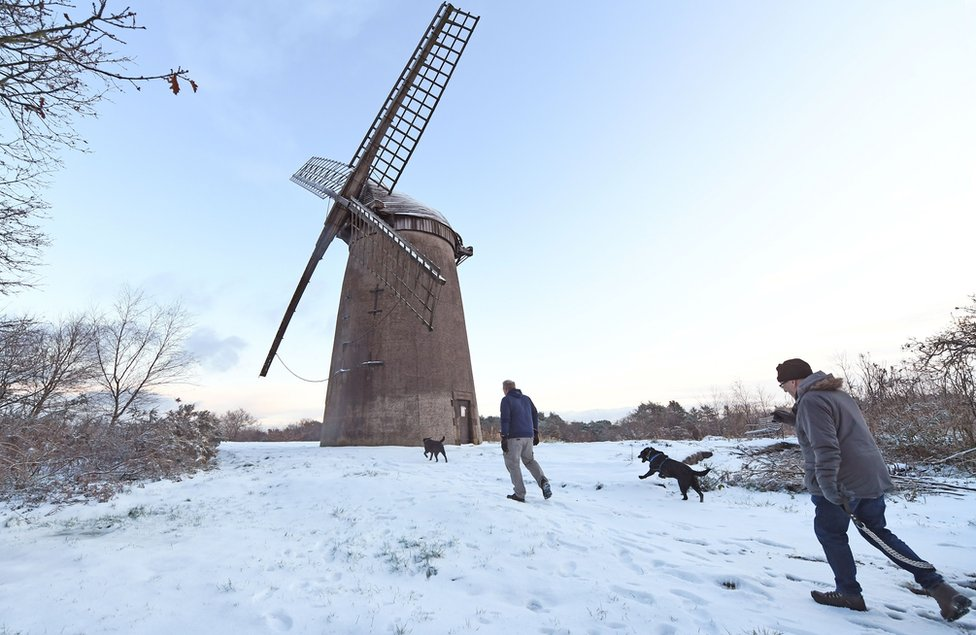 Bidston Windmill covered in snow