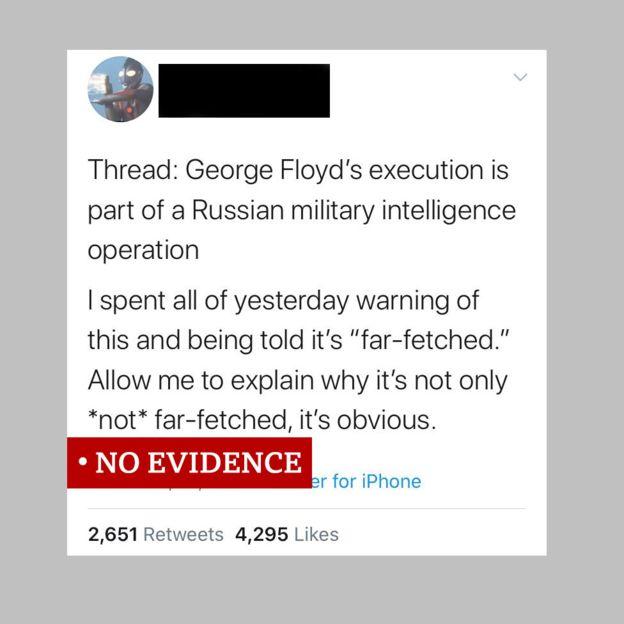 """لقطة لتغريدة تزعم أن روسيا تقف وراء الاحتجاجات الأمريكية. أطلقنا عليها """"لا يوجد دليل"""""""