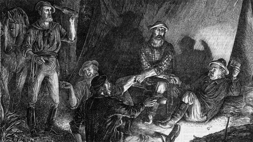 這幅畫描繪的是1873年一組礦工在平安夜唱歌慶祝聖誕節