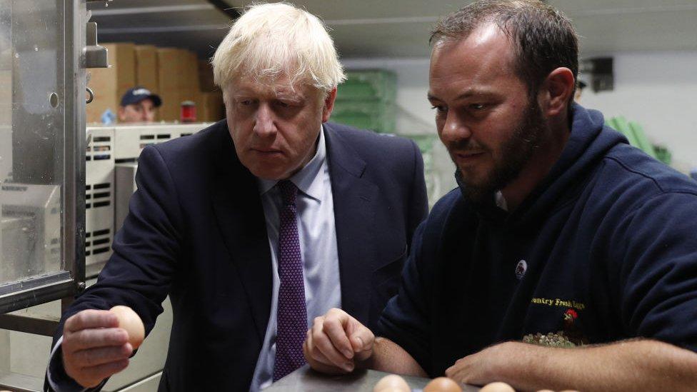 Boris Johnson holding an egg