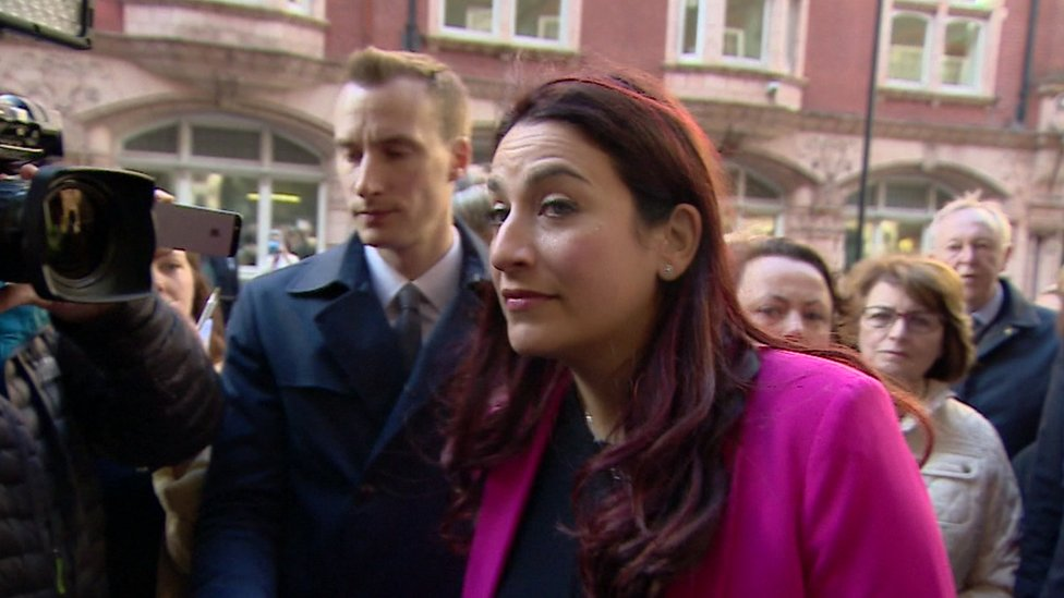Luciana Berger talks to journalists outside the hearing