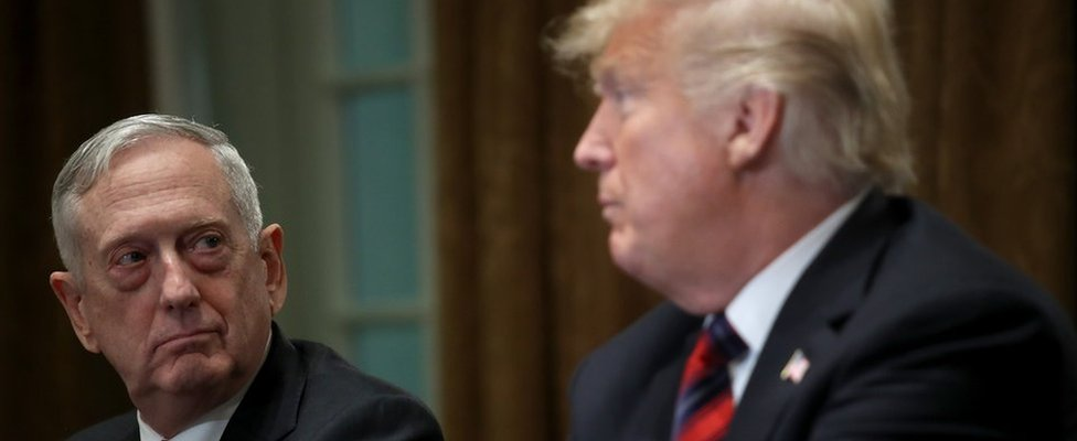 President Trump and Defence Secretary Mattis pictured in October