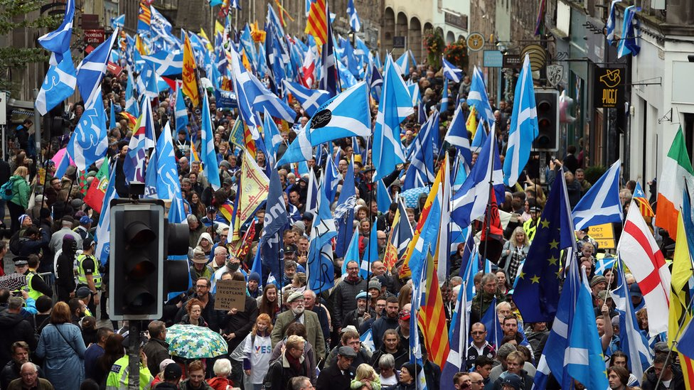 Scottish independence supporters march through Edinburgh during an All Under One Banner march.