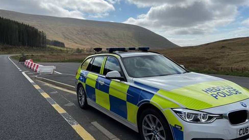 A police car near Pen y Fan