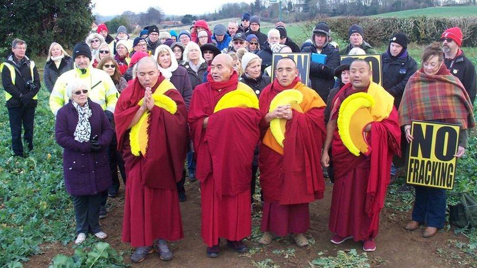 Tibetan Monks Bless Woodsetts Proposed Fracking Site Bbc News