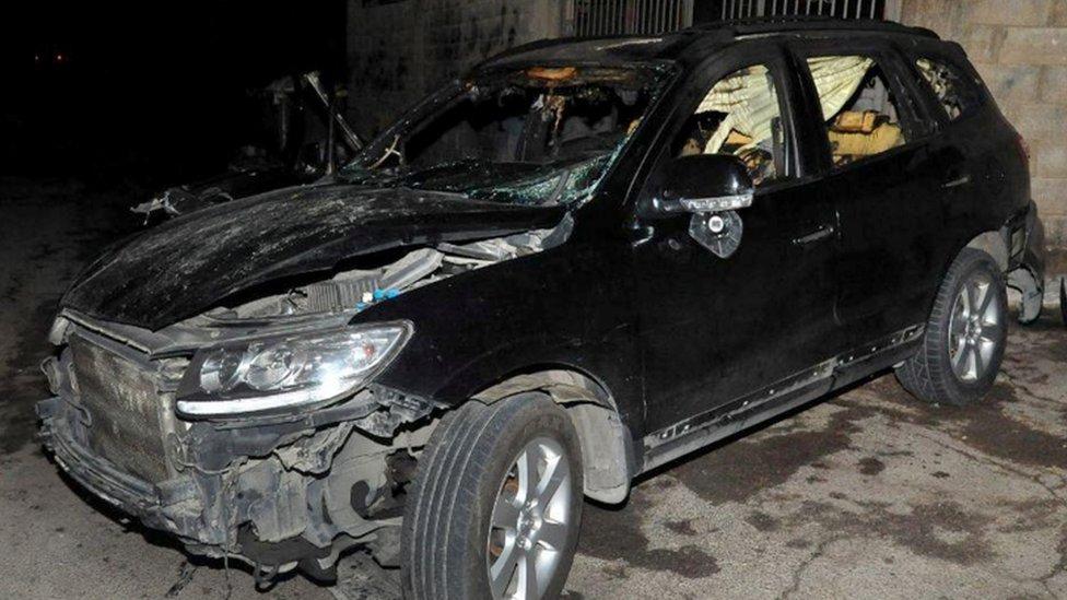 Sheikh Afiyuni's car after the attack - Sana news agency handout