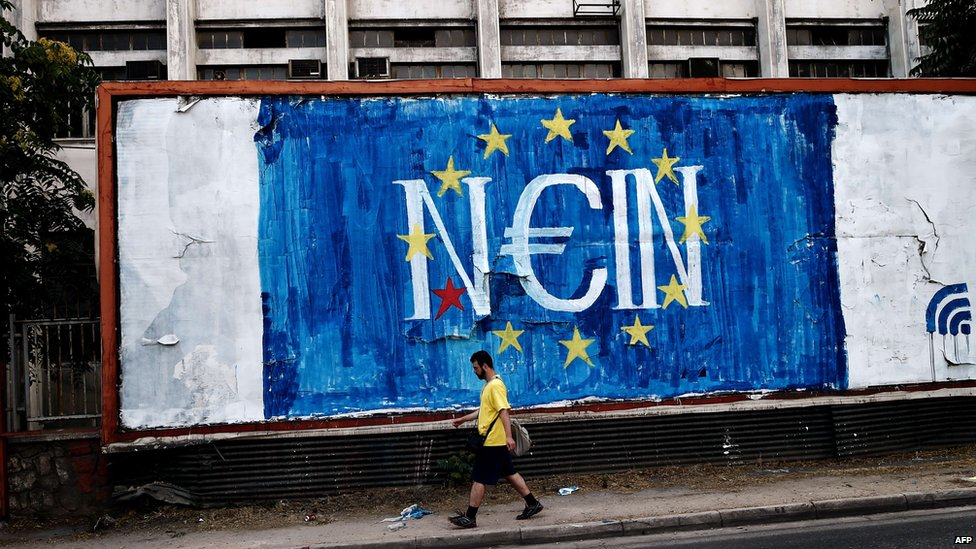 """Graffiti in Athens in support of a """"no"""" vote in the referendum on bailout terms, 28 June 2015"""