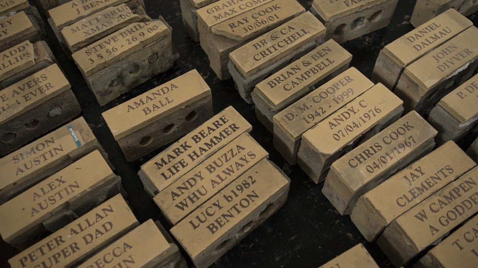 Bricks with different commemorative messages