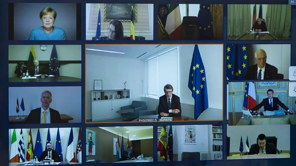 EU leaders during a video conference as viewed from the Elysee Palace on 26 March