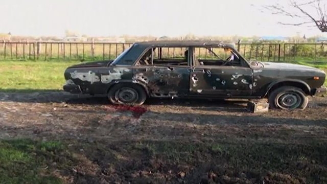 Car damaged during clashes in Nagorno-Karabakh
