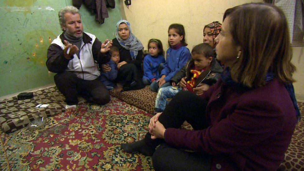 Abu Mohammed and his family speaking to Lyse Doucet