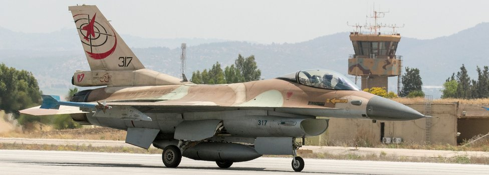 Israeli Air Force F-16 fighter jet preparing to take off at the Ramat David Air Force Base (28 June 2016)