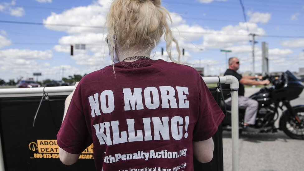 People gather to protest against the resumption of federal executions near the US Penitentiary and execution chamber in Terre Haute, Indiana, USA, 13 July 2020