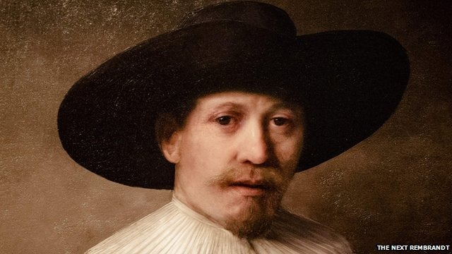 A painting produced by 3D printing in the style of Dutch master Rembrandt
