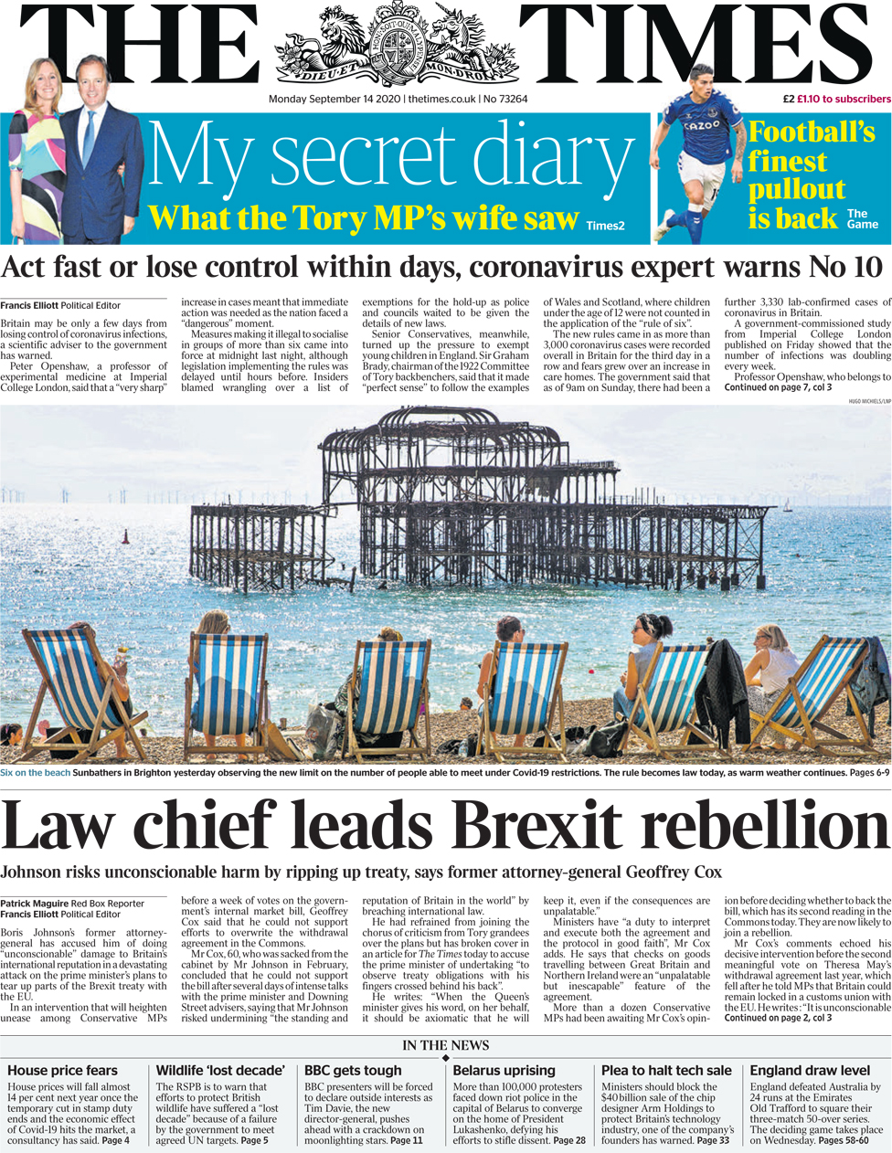The Times front page 14 September