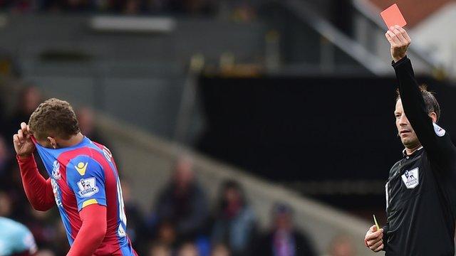 Crystal Palace striker Dwight Gayle sent off