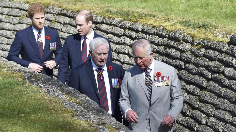 Princes Charles, William and Harry with Canadian Governor General David Johnston