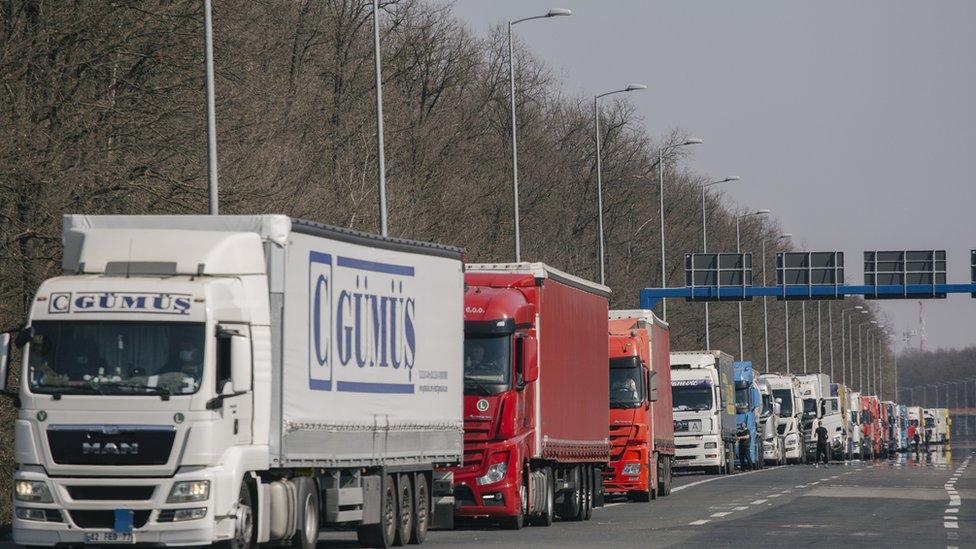Kolona kamiona na granici