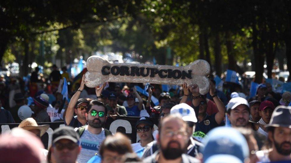 Protesta contra la corrupción en Guatemala.