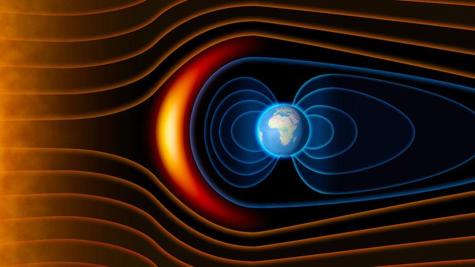 Medan magnet melindungi kita dari angin tenaga matahari.