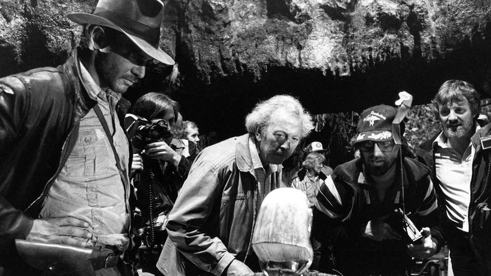 Les Dilley on the set of Raiders of the Lost Ark with Harrison Ford and Steven Spielberg