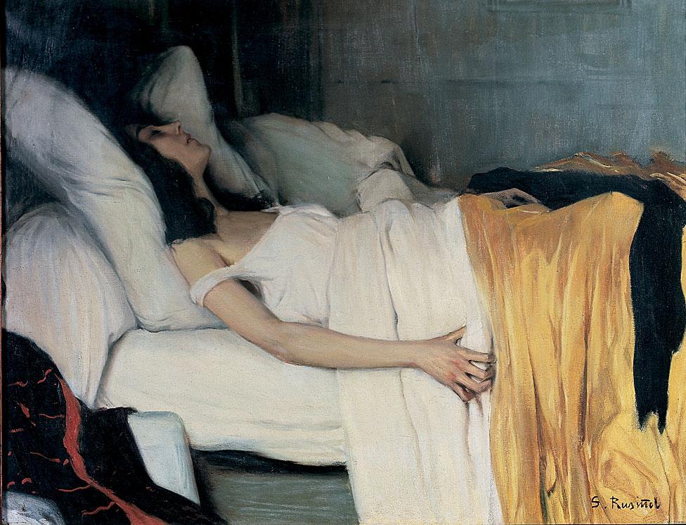 """El problema es que los opiáceos también se usan para aliviar otros tipos de dolor. """"Morfinista"""" (Detalle), 1894, de Santiago Rusiñol (1861-1931). Colección del Museu Cau Ferrat."""