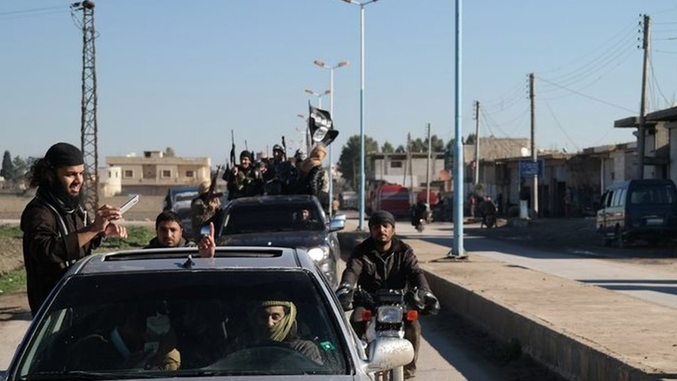 Islamic State fighters in northern Syria (file photo)