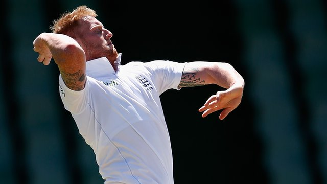 England's Ben Stokes bowls against a South Africa Invitational XI