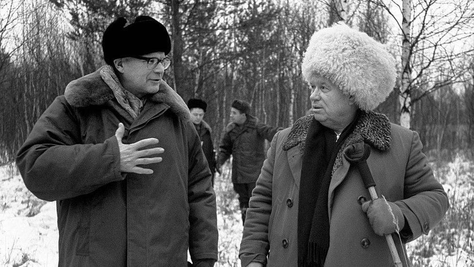 Urho Kekkonen y Nikita Kruschev.