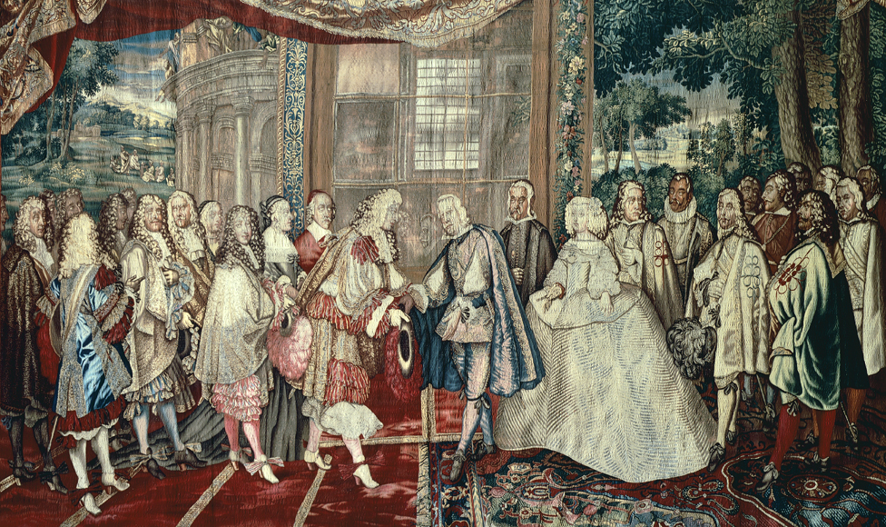 Meeting of Philip IV of Spain and Louis XIV of France at Pheasant Island, June 6, 1660, 17th century French tapestry by Jean Mozin's workshop, manufacture of Gobelins, 1665-80, from the series Story of the King