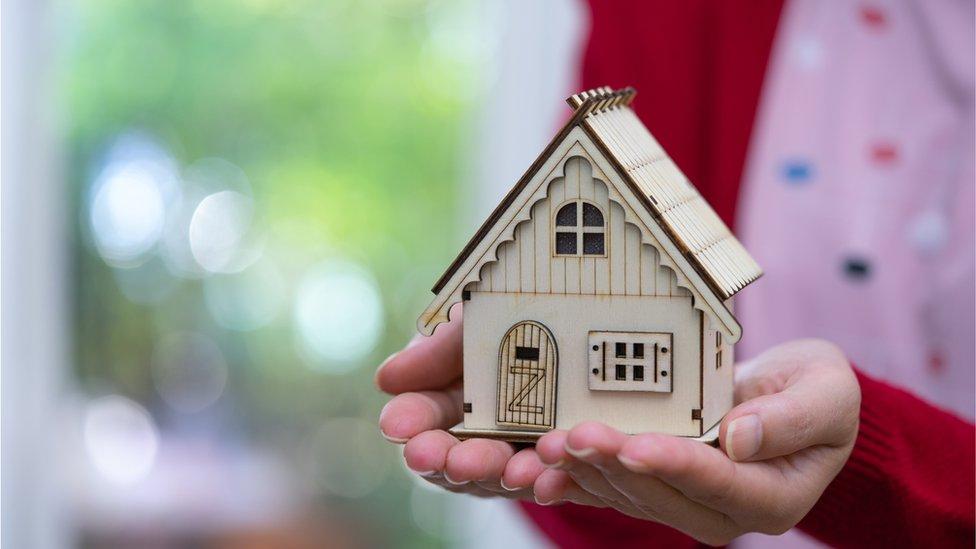 امرأة تحمل بيت صغير
