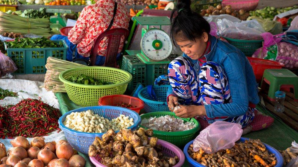 El mercado de la mañana en Battambang, Camboya.