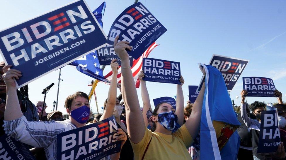 特拉華州威爾明頓市拜登和哈里斯的支持者