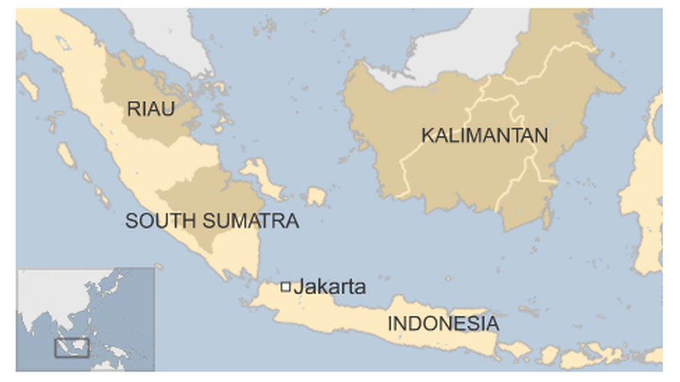 Map showing Riau, South Sumatra and Kalimantan