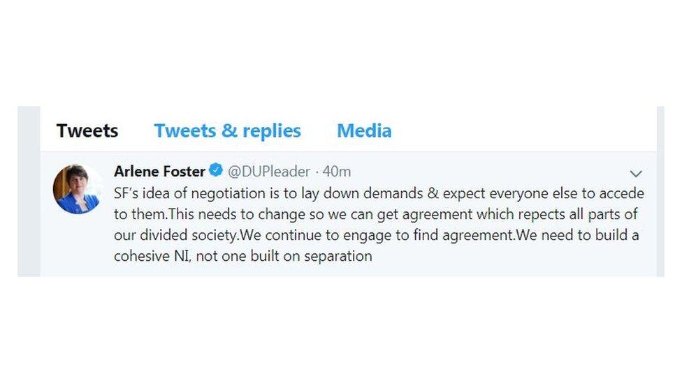 Arlene Foster's tweet