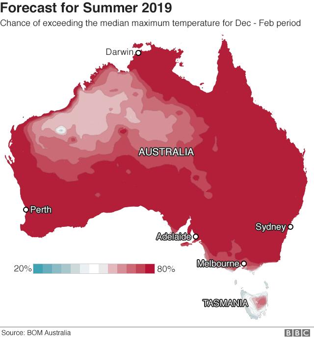 Map: forecast for summer 2019 across Australia